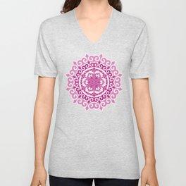 Pink Mandala on Baby Pink Background Unisex V-Neck