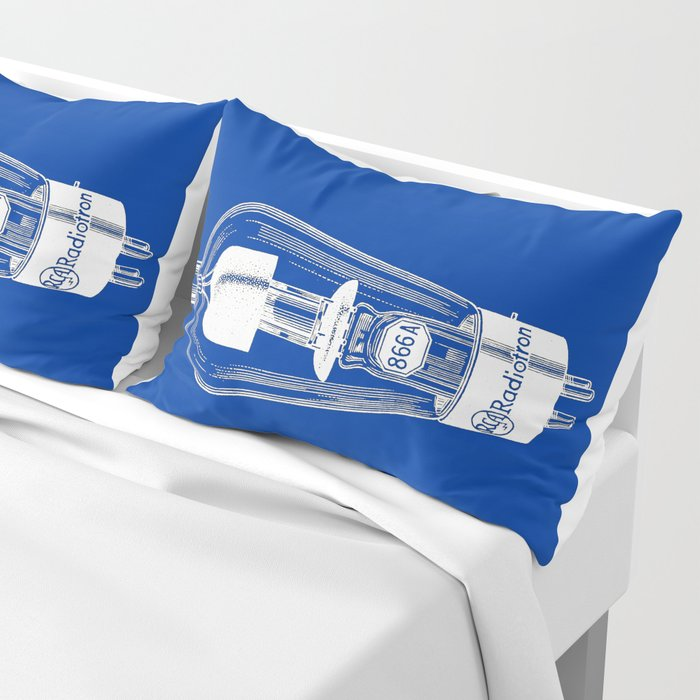 Radio tube vintage electronics on blue back ground Pillow Sham