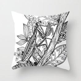 Praying Mantis in Ink Throw Pillow