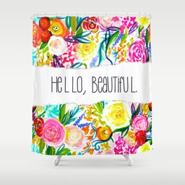 Neon Summer Floral + Hello Beautiful Shower Curtain