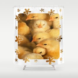 Clutch of Yellow Fluffy Chicks With Decorative Border Shower Curtain