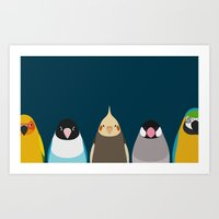 Five birds - tori no iro Art Print