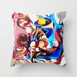 Expressive Abstract People Composition painting Throw Pillow