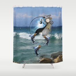 Steampunk Yin-Yang ocean Dolphins Shower Curtain