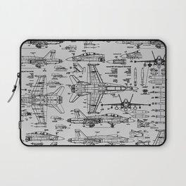 F-18 Blueprints // Light Grey Laptop Sleeve