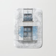 Architect Drawing of Blue Wooden Windows Bath Mat