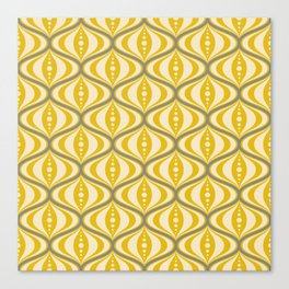 Retro Mid-Century Saucer Pattern in Yellow, Gray, Cream Canvas Print