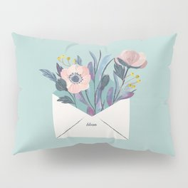 Flowers in an envelope: A watercolor floral throw pillow Pillow Sham