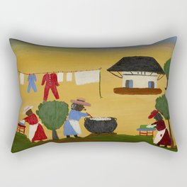 African American Masterpiece 'The Wash' portrait painting by Clementine Hunter   Rectangular Pillow