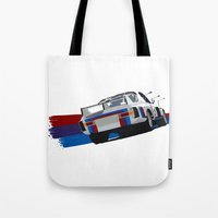 bmw Tote Bags featuring BMW Art by SABIRO DESIGN