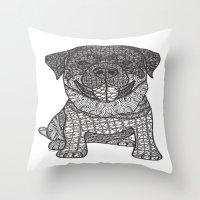 rottweiler Throw Pillows featuring Courageous- Rottweiler by DiAnne Ferrer
