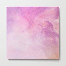 Artistic Watercolour Marble Pink Metal Print