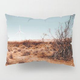 Desert and wind turbine with blue sky at Kern County California USA Pillow Sham