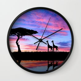 Lonely Tree And Giraffes Silhouette In African Savannah At Sunset Ultra HD Wall Clock