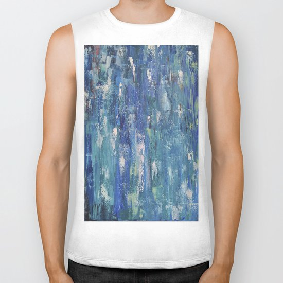 Abstract blue Biker Tank