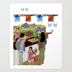 Happy Valley Flower Market Art Print