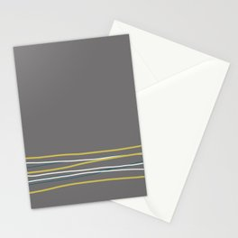 Off White, Dark Yellow and Tropical Dark Teal Inspired by Sherwin Williams 2020 Trending Color Oceanside SW6496 Scribble Lines Pattern Bottom Stationery Cards