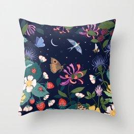 Midnight Summer Garden Throw Pillow
