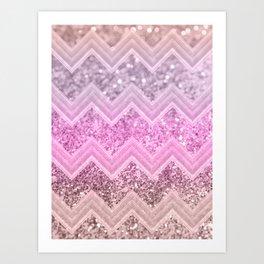 Unicorn Glitter Chevron #2 #shiny #decor #art #society6 Art Print