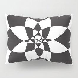 Atomic Flower Black and White Pillow Sham