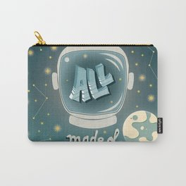 We are all made of stars, typography modern poster design with astronaut helmet and night sky, green Carry-All Pouch