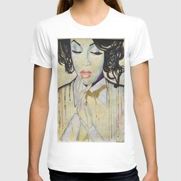 Colourful dripping ink portrait T-shirt