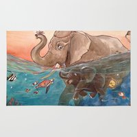 elephants Area & Throw Rugs featuring Elephants by Paloma  Galzi