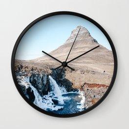 Waterfall in Iceland Wall Clock
