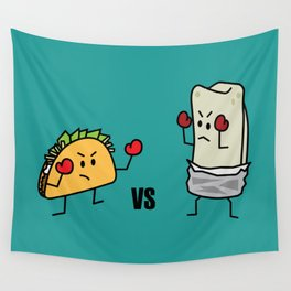 Taco Vs Burrito Boxing Fighters Mexican beef carne tortilla Wall Tapestry