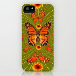 GREEN PEA SOUP SUNFLOWERS MONARCH BUTTERFLIES iPhone Case