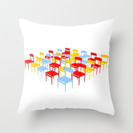 25 Chairs Throw Pillow