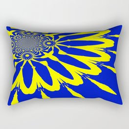 The Modern Flower Blue & Yellow Rectangular Pillow