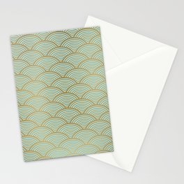Festive, Art Deco, Wave, Pattern, Green and Gold Stationery Cards