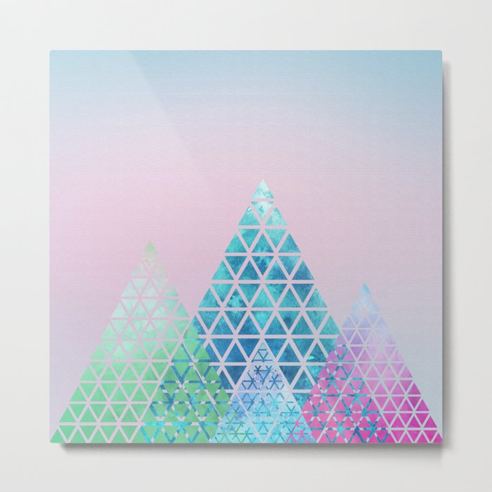 Geometric Christmas Trees Metal Print