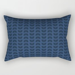 Navy Peony Leaves Rectangular Pillow