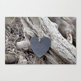 Beach Love Slate Heart on sea washed driftwood Canvas Print