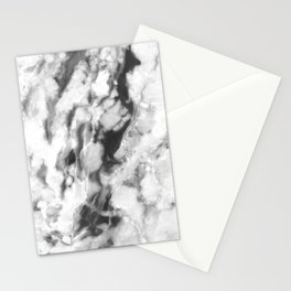 Black and Grey Marble Natural Stone Veining Quartz Stationery Cards