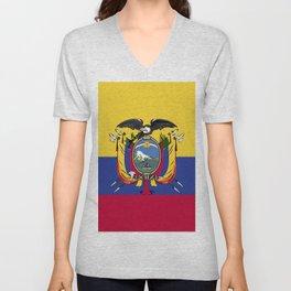 Ecuador flag emblem Unisex V-Neck