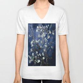 Vincent Van Gogh Almond Blossoms Dark Blue Unisex V-Neck
