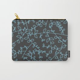 Light blue leaves in a grey background Carry-All Pouch
