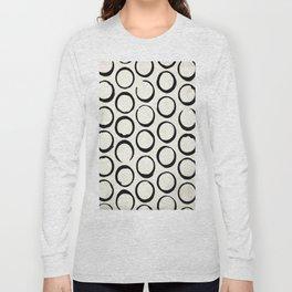 Polka Dots Circles Tribal Black and White Long Sleeve T-shirt