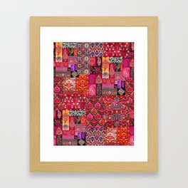 N98 - Traditional Heritage Boho Oriental Moroccan Collage Style. Framed Art Print