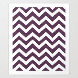 Dark byzantium - violet color - Zigzag Chevron Pattern Art Print