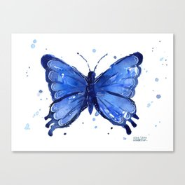 Butterfly Blue Watercolor Animal Painting Canvas Print