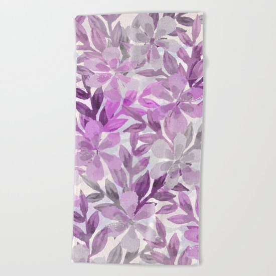 watercolor Botanical garden III Beach Towel