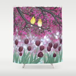 goldfinches, tulips, & flowering crabapple Shower Curtain