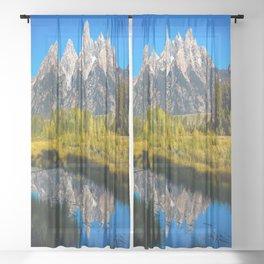 Grand Teton - Reflection at Schwabacher's Landing Sheer Curtain