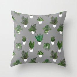 Houseplants Illustration (grey background) Throw Pillow
