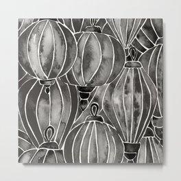 Black Vietnamese Lanterns Metal Print