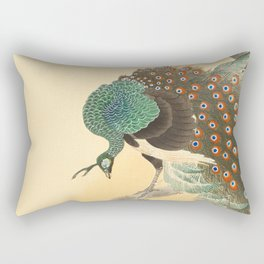 Peacock On A Cherry Tree - Vintage Japanese Woodblock Print Rectangular Pillow